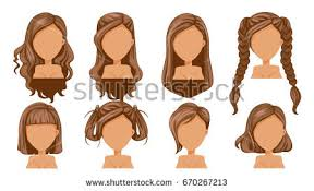 fashion icon plaited hair beautiful hairstyle woman modern fashion assortment stock vector