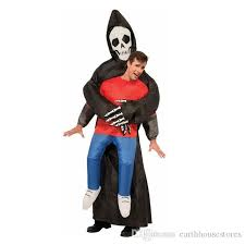 Inflatable Halloween Costumes Grim Reaper Scary Suit Inflatable Illusion Skull Halloween