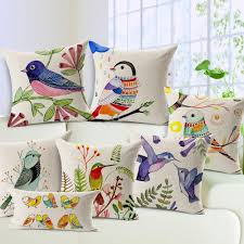 free shipping hand painted flowers and birds cotton linen pillow
