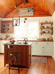 mixing wood and painted cabinets kitchen traditional with rustic