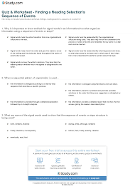 quiz u0026 worksheet finding a reading selection u0027s sequence of