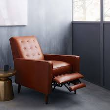 Rhys Mid Century Leather Recliner Saddle West Elm Uk