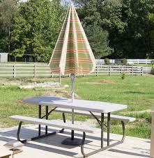 Lifetime Outdoor Furniture Lifetime Picnic Table With Arden Outdoor Umbrella Ebth