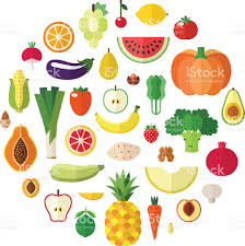 vegetables fruits and nuts food vector circle background flat