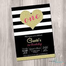 sip and shop invitation 1st birthday invitation black white gold heart invitation pink