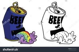 cartoon beer cartoon beer can throwing rainbows vector stock vector 232163473