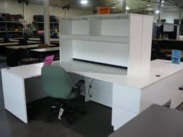 l shape desk white laminate w hutch desks u0026 credenzas