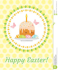 happy easter greeting card flyer poster with easter cake and
