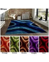 Blue Brown Area Rugs Huge Deal On 5 U0027x8 U0027 Feet Modern Contemporary Shag Shaggy Blue Red