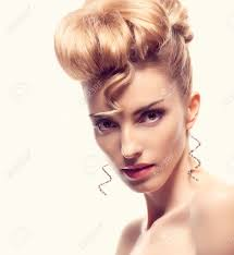 fashion natural makeup beauty woman with mohawk hairstyle blonde