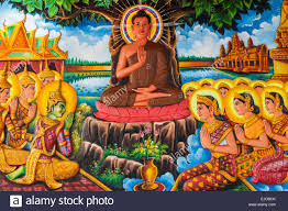 cambodia siem reap preah promreath temple wall mural painting cambodia siem reap preah promreath temple wall mural painting depicting the life of the buddha