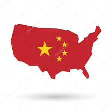 Map Icon Isolated Usa Vector Map Icon With The Five Stars China Flag Sym