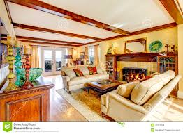 family room with wood ceiling beams stock photos image 16476273
