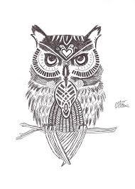 stylised owl tattoo drawing
