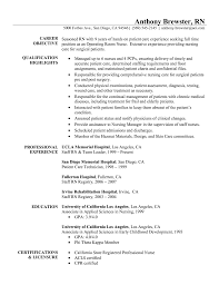 Resume Sample For Nursing Job by Resumes Pre Op Nurse Construction Objectives Resume Resume Credit