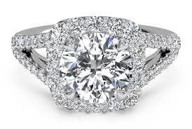 cushion ring cut cushion halo diamond v band engagement ring in