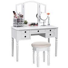 Folding Vanity Table Songmics Vanity Set Tri Folding Mirror Make Up
