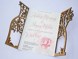 laser cut wood invitations luxury wedding invitations with wooden cover cut out tree