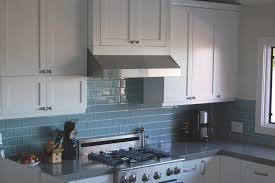 modern concept large sky blue glass subway tile kitchen backsplash