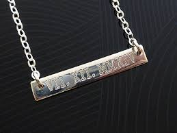 sterling silver nameplate necklace wedding date bar necklace sterling silver numeral necklace