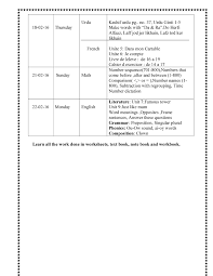 date sheet and portion for the first assessments of second term