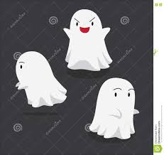 halloween character set cute ghost cartoon vector illustration