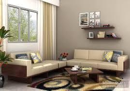 Wooden Sofa Cushions In Bangalore Azlin Wooden Sofa 3 2 Set Walnut Finish