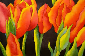 the painted prism watercolor project step by step red tulips