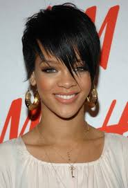 boycut hairstyle for blackwomen rihanna boy cut short black hairstyle with fringed bangs