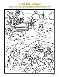 hidden picture and coloring page spot the beavers printable