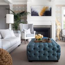 Living Room Ottoman by Cute Family Room Living Room Transitional With Gray Carpet Blue