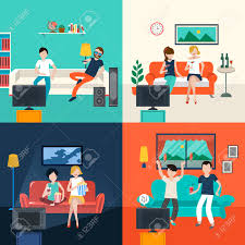 Livingroom Cartoon Friends Watching Tv Program In The Living Room In Flat Design