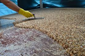 Pea Gravel Concrete Patio by How To Install Epoxy Natural Stone Flooring Youtube