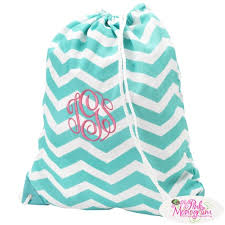 monogrammable items monogrammed aqua chevron drawstring bag at the pink monogram