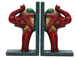 bulk wholesale handmade 9 u201d wooden elephant bookends in blue red