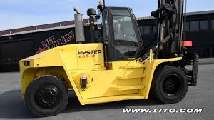 tito com hyster h400hd used 16 ton forklift driving forward and