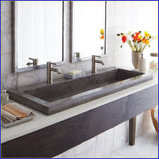 double faucet bathroom sink sinks awesome undermount trough sink