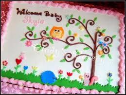 easy owl infant shower quarter sheet cake