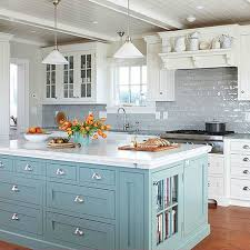 blue grey kitchen cabinets 15 gorgeous white kitchens with coloured islands the happy