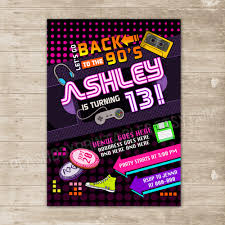 graphic design birthday invitations back to the 90 u0027s invitation nineties party invite flashback