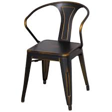 Dining Chair Set Of 4 Metropolis Metal Arm Chair Distressed Yellow Paint Drops Set Of