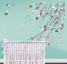 Nursery Bird Decor Flowers Vines Nursery Wall Decals For Baby Blue Turquoise