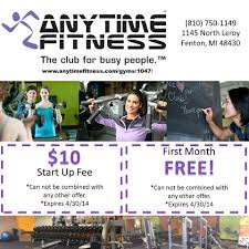april 2014 promotion for anytime fitness in fenton anytime
