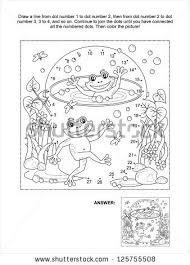 dottodot coloring page happy frogs vector stock illustration