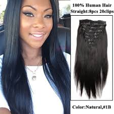 pics of black woman clip on hairstyle natural color straight clip in brazilian human virgin hair african