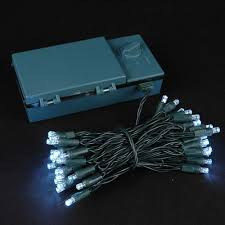 50 led battery operated lights on white wire