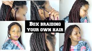 how to braid extensions into your own hair box braiding your own hair tutorial youtube