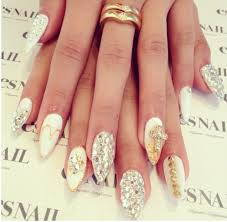 white silver gold stiletto nails nails pinterest gold