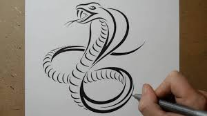 how to draw a cobra snake tribal tattoo design style youtube