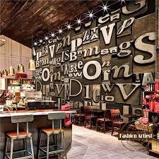 living room cafe custom 3d vintage wooden board wallpaper mural wood carving letter